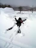 連れ、雪へダイブ